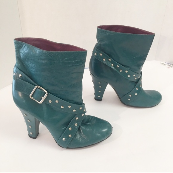 9cfac6440 Marc Jacobs studded Turquoise leather ankle boots.  M 5b92bf6de944baaa566f5eb3